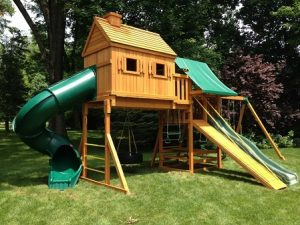 Wooden swing sets that are made of cedar are naturally resistant to insect damage, rot and decay.