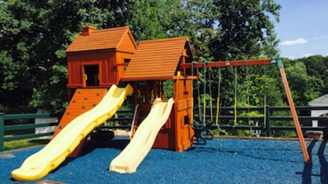 Stained Wooden Playground Set