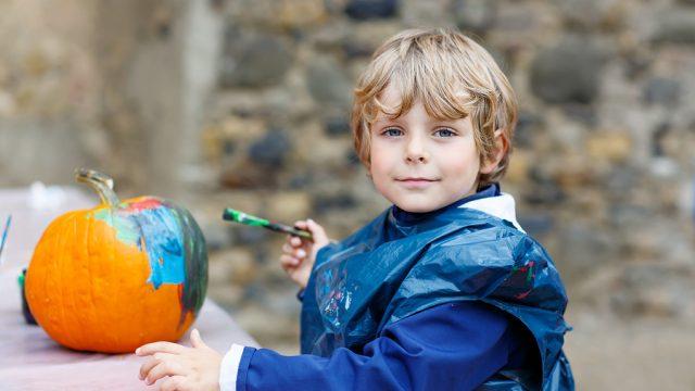 Little Kid Boy Painting