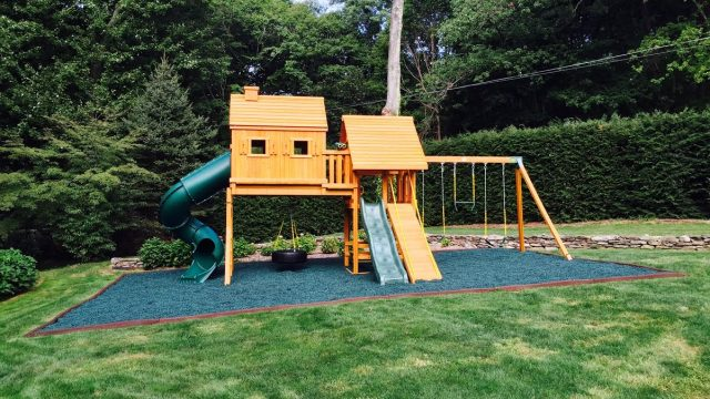 Eastern Jungle Gym Wooden Swing Set on