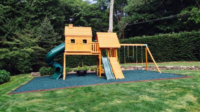 wooden swing set