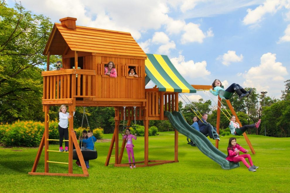 tree houses with spiral slides