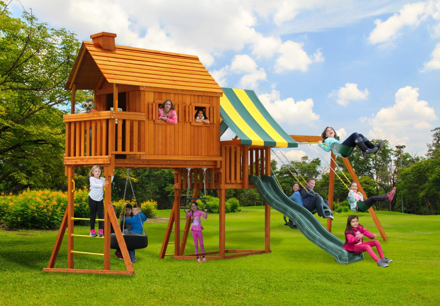 Picture of: Fantasy Outdoor Tree House Swing Set Plan Shop Today