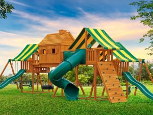Imagination Huge Backyard Cedar Swing Set for Kids A small