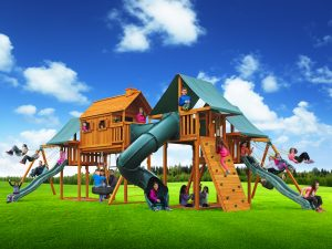 cedar Imagination playset with kids playing on it