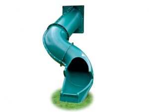 five foot green spiral slide