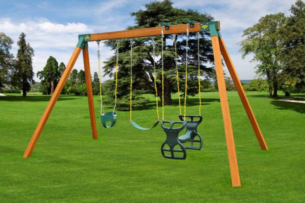 diy wooden freestanding swing set