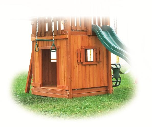 wooden bottom playhouse with slide and trapeze bar