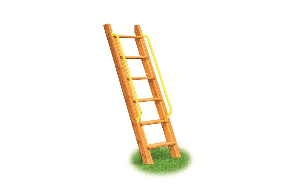 wooden step ladder with yellow handles