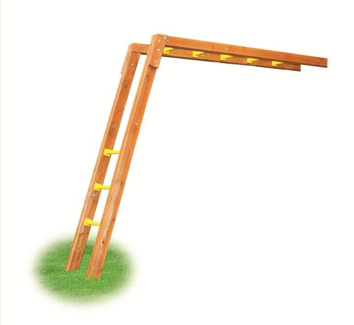 wooden monkey bars with yellow accents